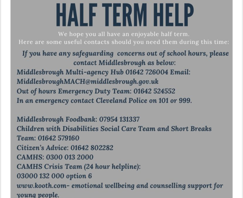 Half term info and contacts