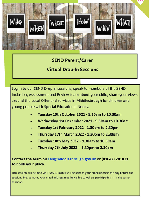 SEND drop in sessions for parents/carers